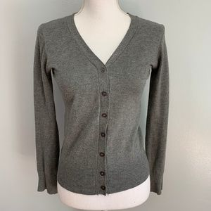 Zara | Gray Button Front Long Sleeve Cardigan